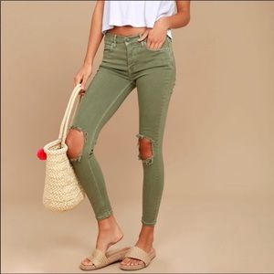 Free People Distressed Skinny Jeans Olive Green 28